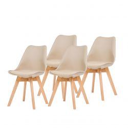 Beżowe krzesła skandynawskie do kuchni 4 szt.
