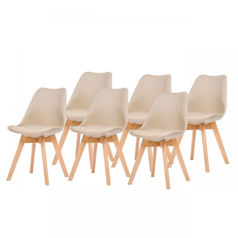 Skandynawskie krzesła komplet 6 sztuk beżowe