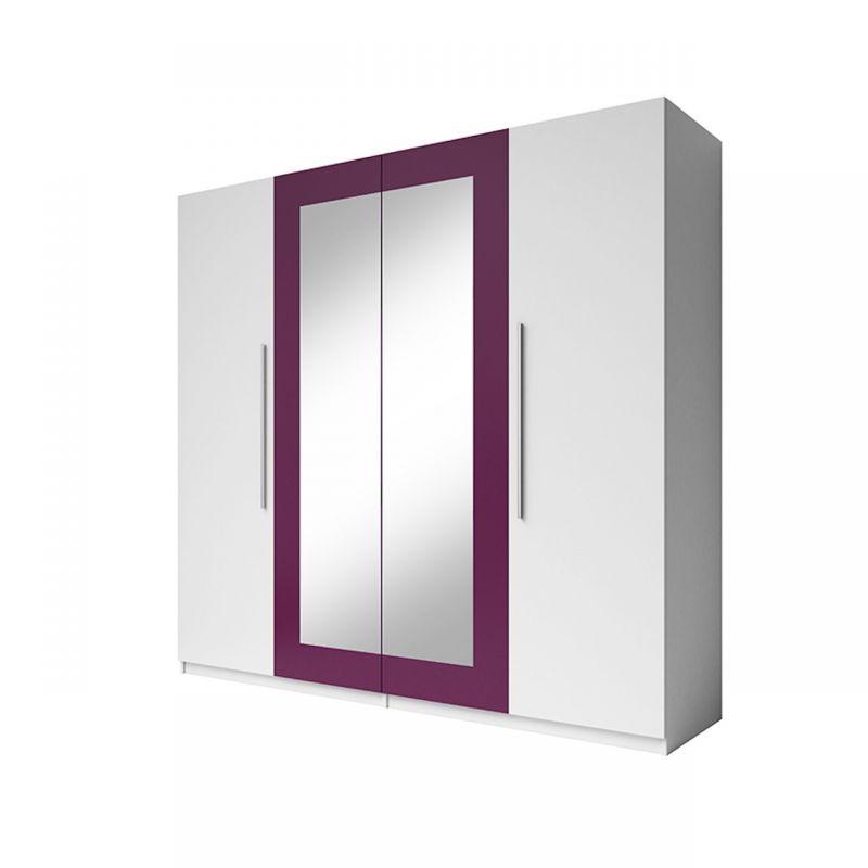 Duża biała szafa uchylna z lustrem 225 cm