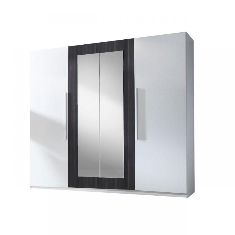 Czterodrzwiowa szafa otwierana biała z lustrem