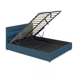 Łóżko pojedyncze tapicerowane 120x200 z pojemnikiem turkusowe