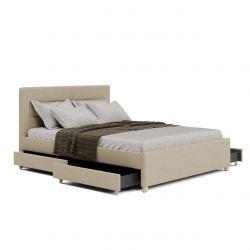 Łóżko podwójne z szufladami beż 140