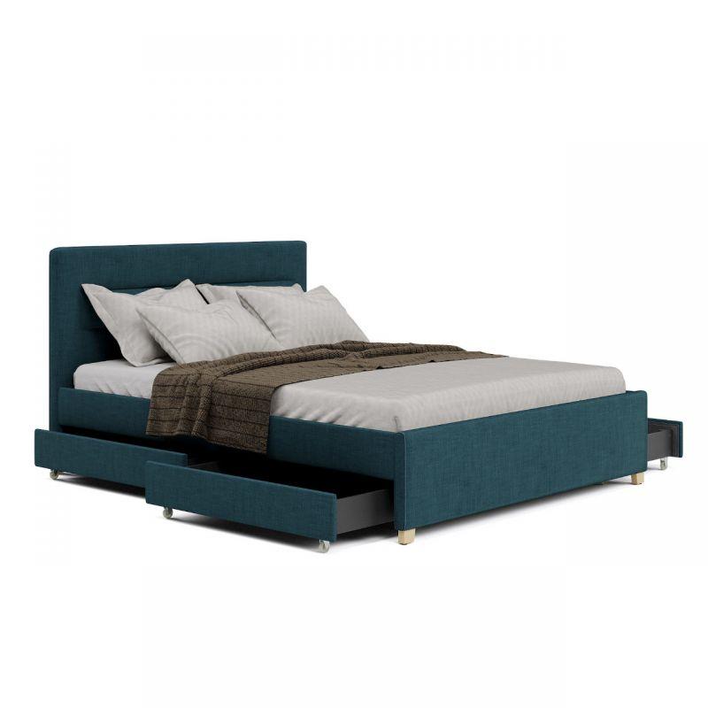 Turkusowe łóżko tapicerowane z szufladami 160