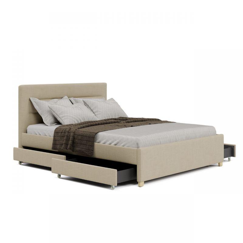 Beżowe łóżko dwuosobowe tapicerowane z szufladami 180 cm