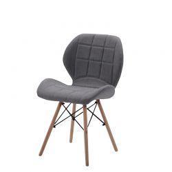 Szare krzesło skandynawskie tapicerowane