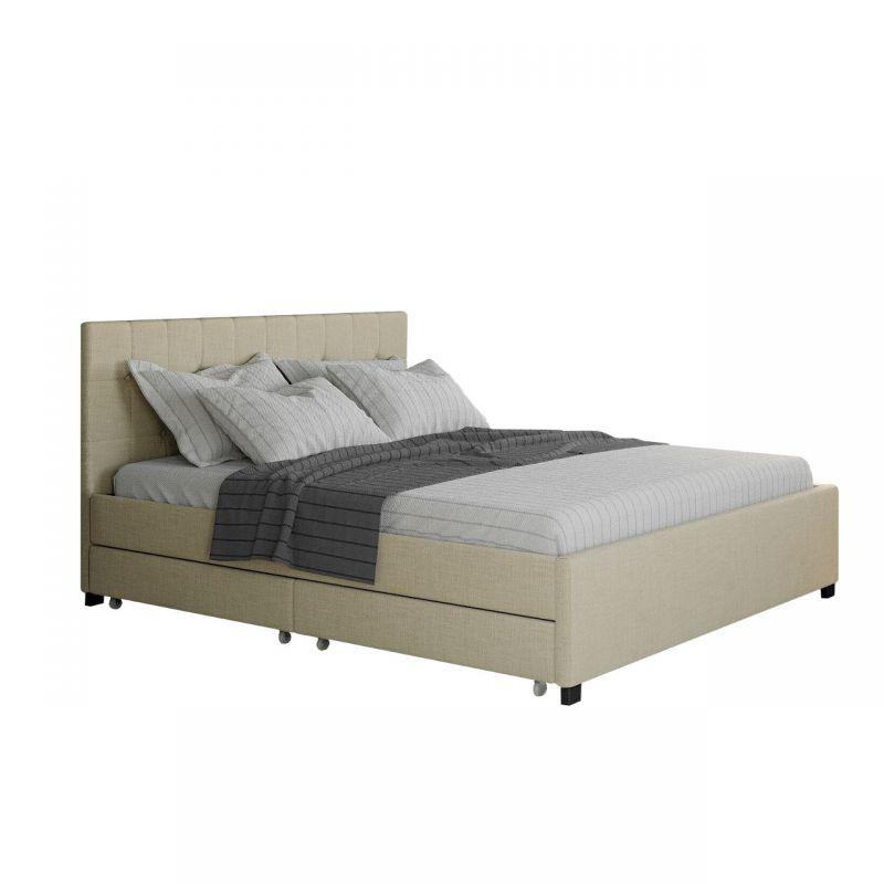 Podwójne łóżko z zagłówkiem i szufladami na pościel 160x200 beż
