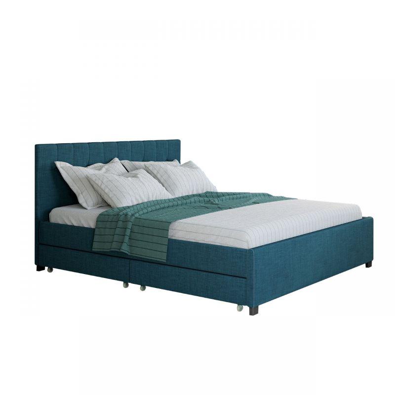 Turkusowe łóżko z szufladami podwójne 180x200