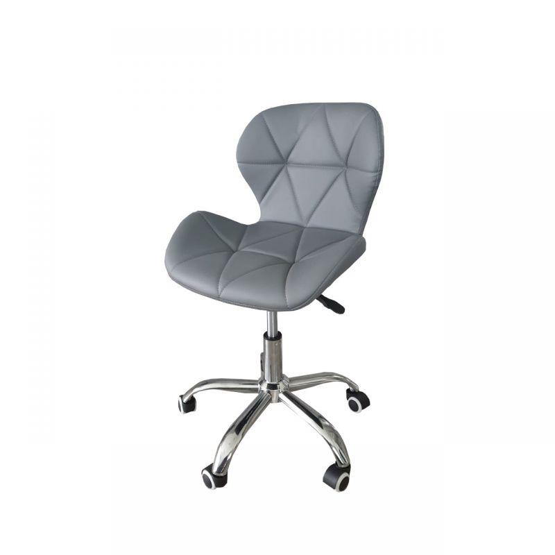 Szare krzesło do biurka obrotowe regulowane