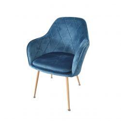 Krzesło tapicerowane turkusowe welur