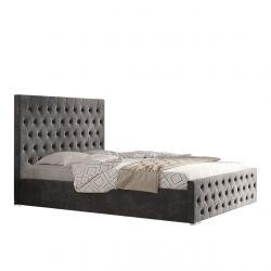 Łóżko do sypialni welurowe z wysokim zagłówkiem 140x200 z pojemnikiem