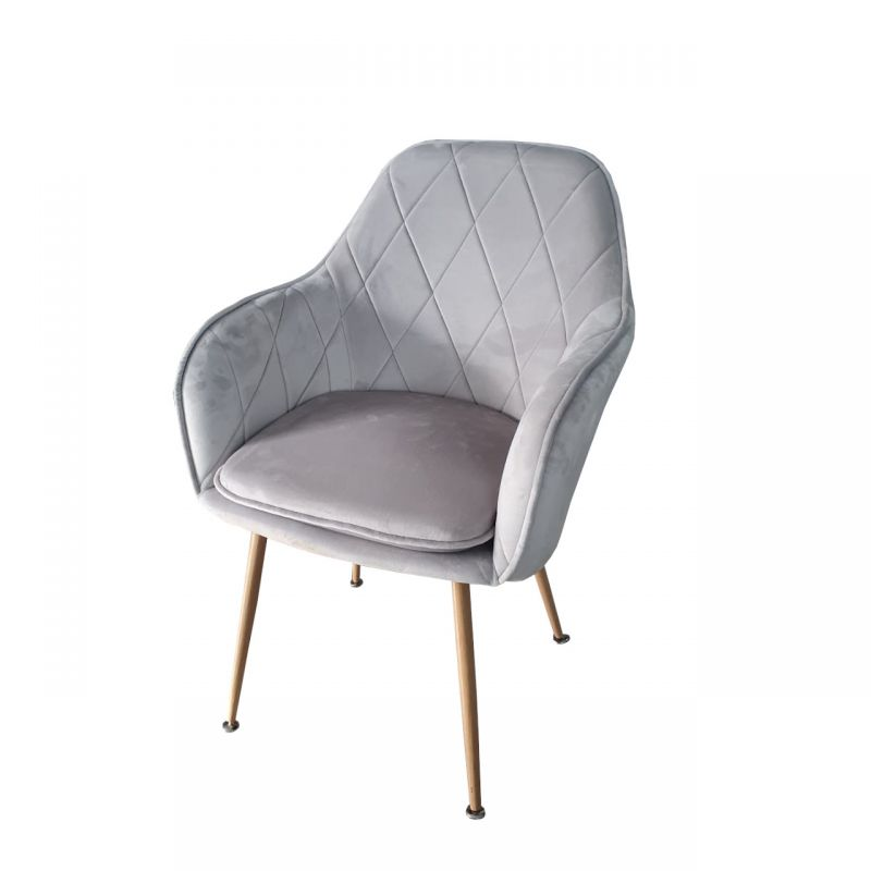 Krzesło kubełkowe tapicerowane szare welur