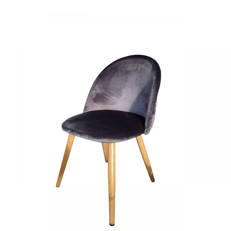 Krzesło szare nowoczesne welur