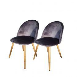 Krzesła do salonu szare welurowe para