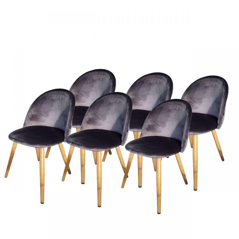 Krzesła glamour welur ciemno szare 6 szt.