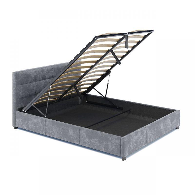 Łóżko welurowe szare z pojemnikiem na pościel 120