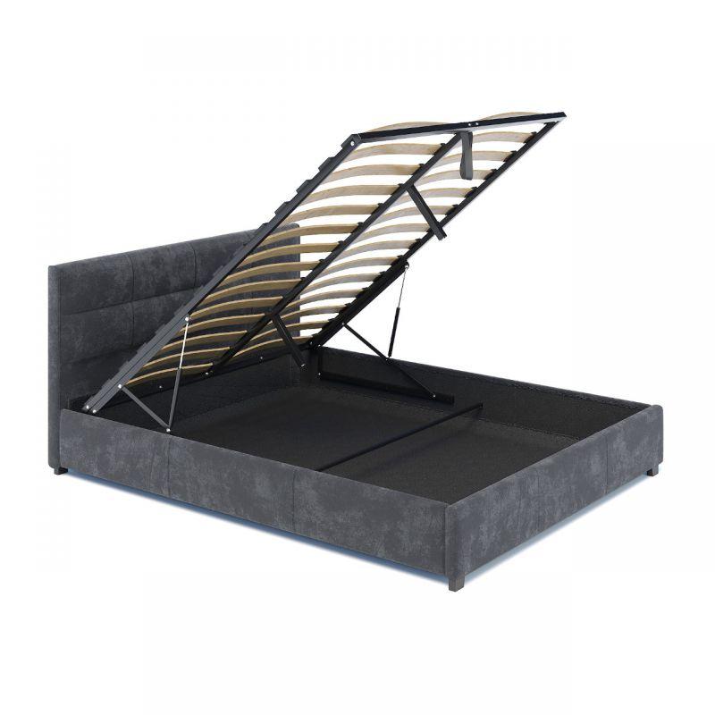Welurowe łóżko grafitowe 120 ze schowkiem