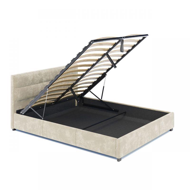 Łóżko dwuosobowe welurowe z wezgłowiem i pojemnikiem 160