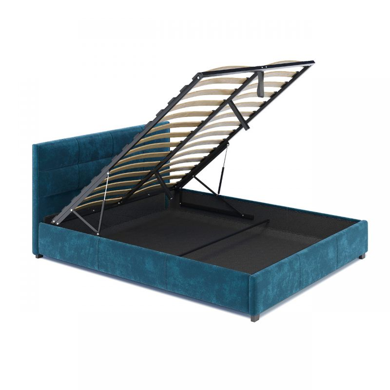 Łóżko turkusowe tapicerowane 160x200 ze schowkiem