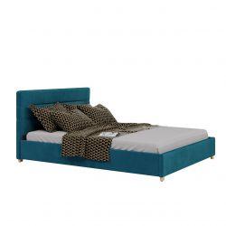Turkusowe łóżko tapicerowane welurem 120 na 200 wezgłowie pojemnik