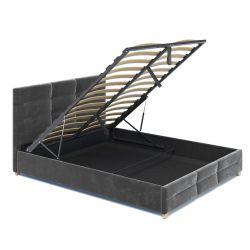 Welurowe łóżko 140x200 z pojemnikiem i stelażem