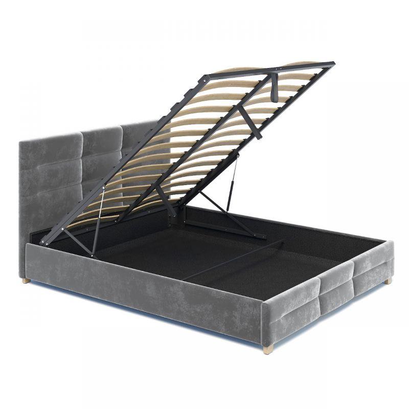 Szare łóżko sypialniane 180x200 z dużym pojemnikiem