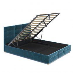 Turkusowe łóżko jednoosobowe 120x200 z pojemnikiem