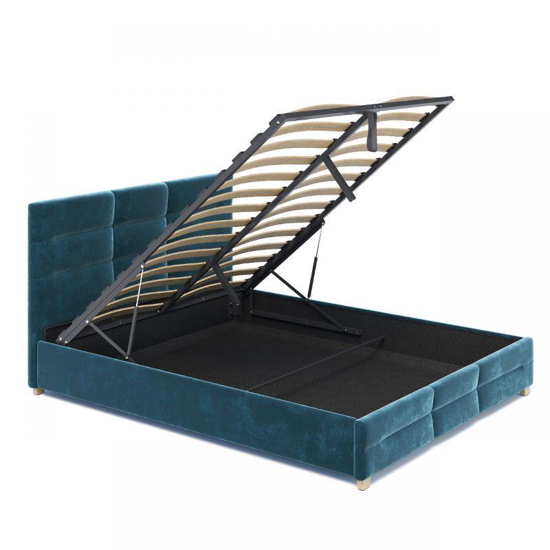 Welurowe łóżko tapicerowane z dużym pojemnikiem 160 cm