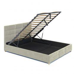 Beżowe łóżko pojedyncze do pokoju 120x200