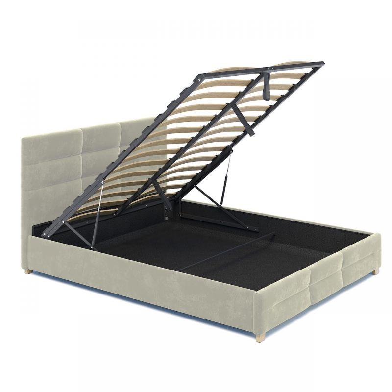 Beżowe łóżko do sypialni 140x200 welurowe