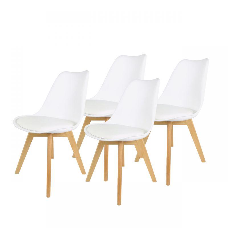 Białe krzesła plastikowe z drewnianymi nogami 4 szt.
