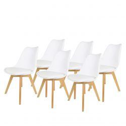 Białe krzesła do kuchni, do poczekalni plastikowe 6 szt.