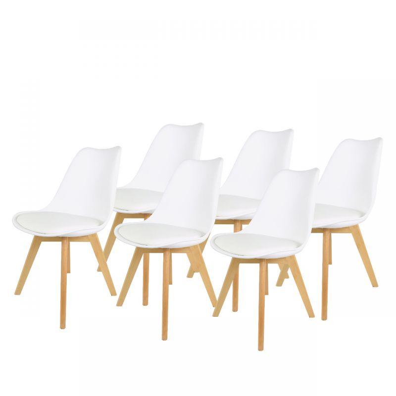 Białe krzesła do kuchni, do jadalni plastikowe 6 szt.