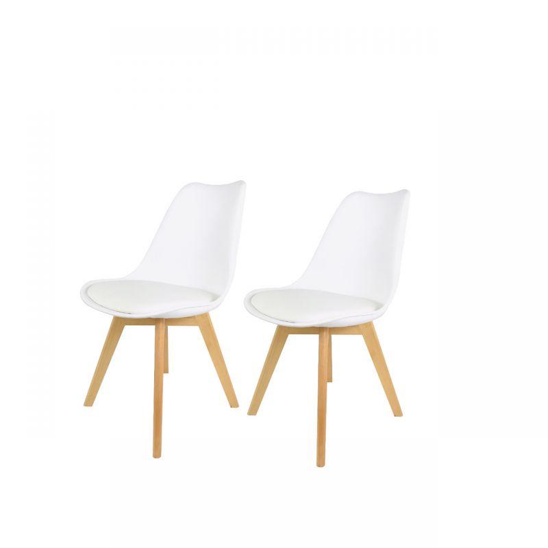 Białe krzesła skandynawskie z poduszką 2 szt.