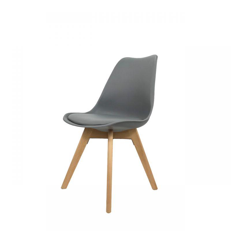 Szare krzesło poduszka z ekoskóry styl skandynawski