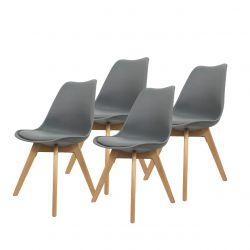 Szare skandynawskie krzesła z poduszką - zestaw do jadalni 4 szt.