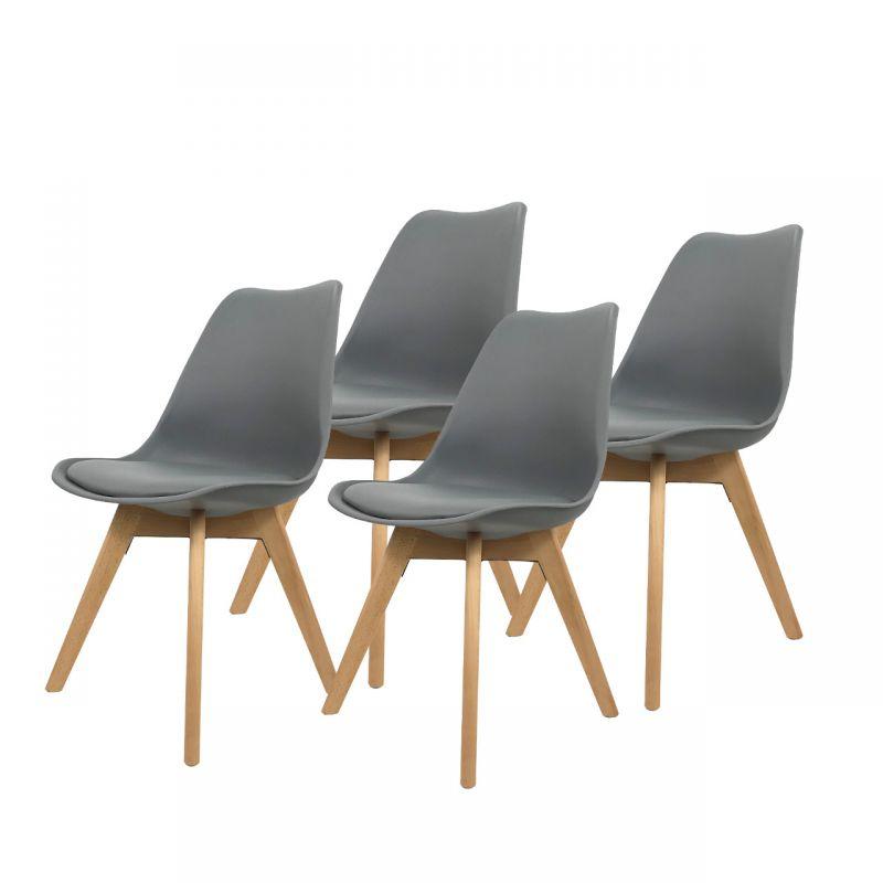 Szare krzesła - zestaw do jadalni 4 szt.