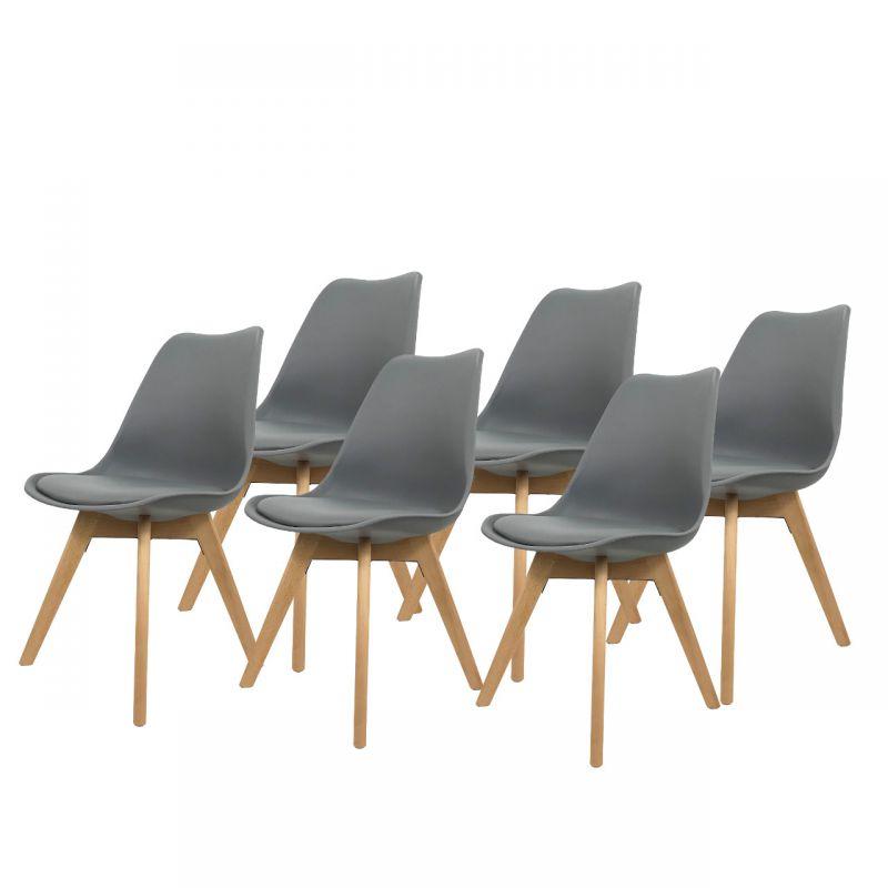 Szare krzesła - 6 szt. zestaw kuchnia jadalnia