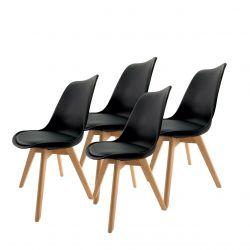 4x czarne krzesło do kuchni komplet w stylu skandynawskim