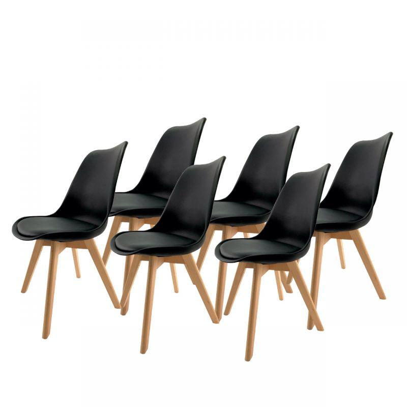 Zestaw 6x czarne krzesło do kuchni styl skandynawski