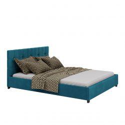 Welurowe łóżko jednoosobowe 120x200 ze schowkiem