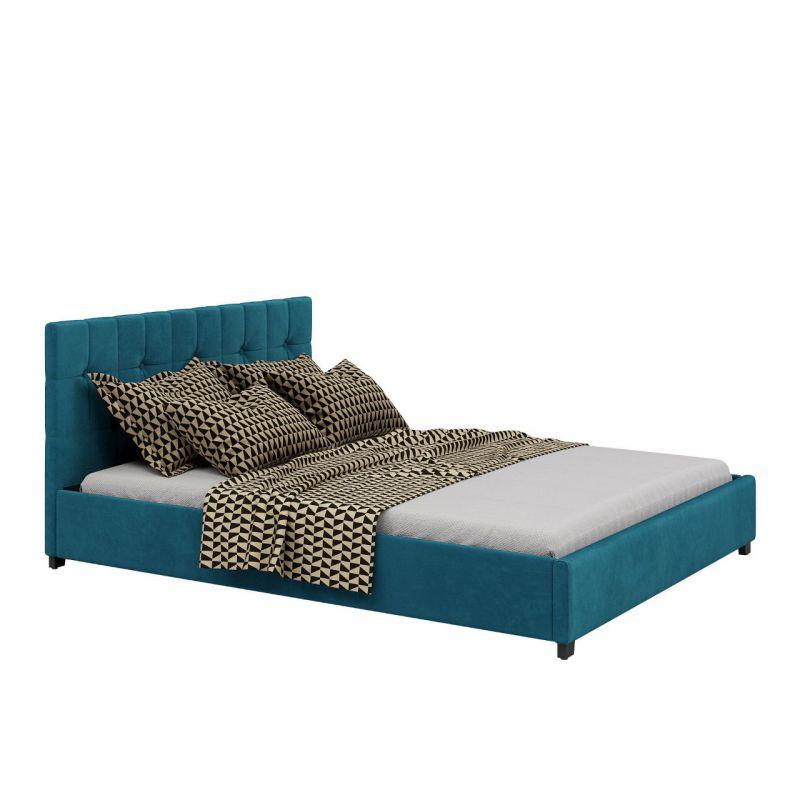 Turkusowe łóżko tapicerowane 160x200, welurowe