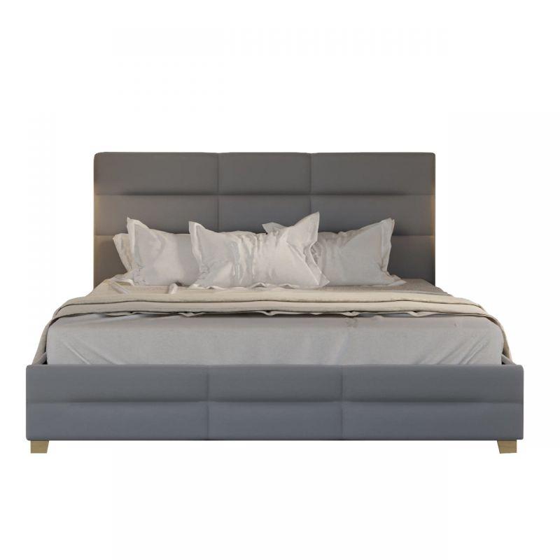 Łóżko tapicerowane szare 140 cm ze schowkiem