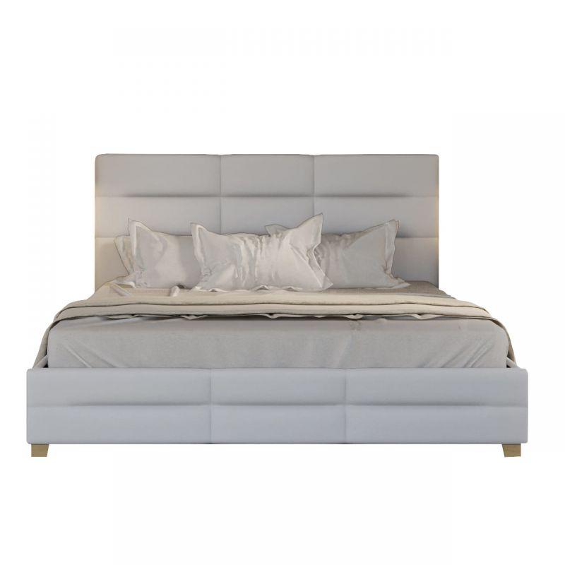 Łóżko małżeńskie tapicerowane 160x200, biała eko skóra