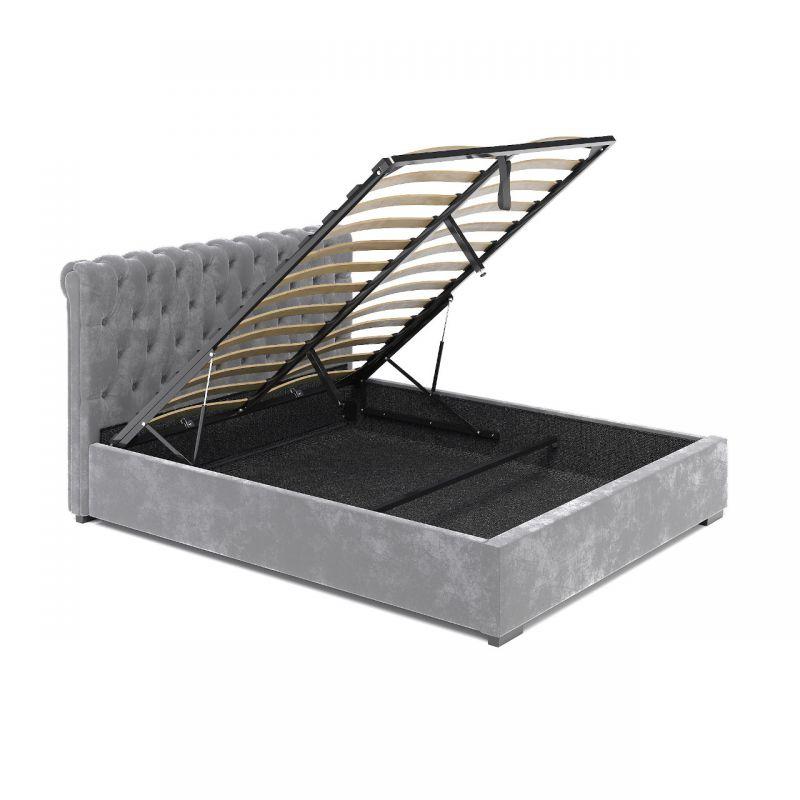 Szare łóżko welurowe 140x200 z pojemnikiem i stelażem