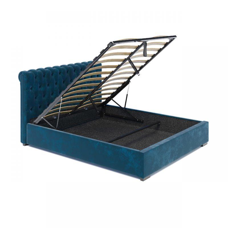 Łóżko tapicerowane turkusowe 160x200 ze schowkiem