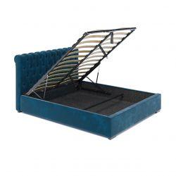 Tapicerowane łóżko 180 z pojemnikiem kolor morski