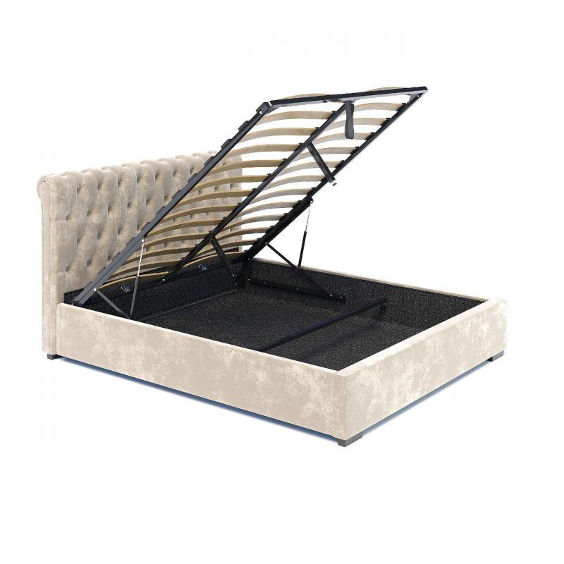 Łóżko 160x200 beżowe z pojemnikiem tapicerowane