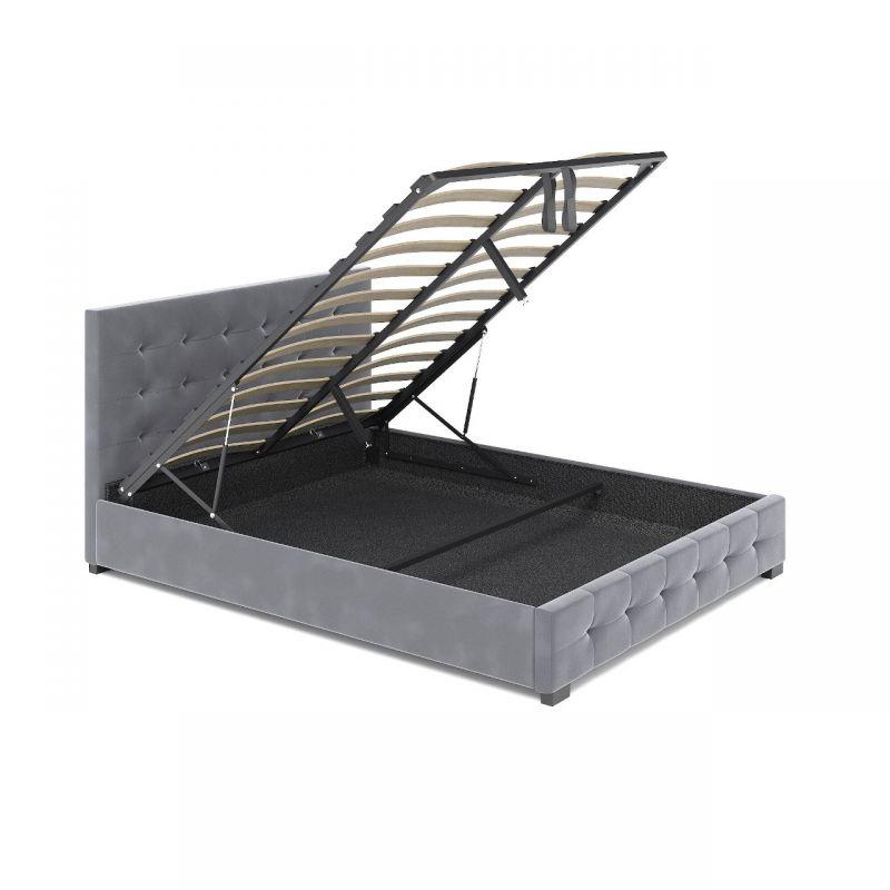 Tapicerowane łóżko welurowe z pojemnikiem 180x200