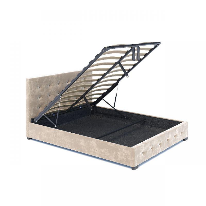 Welurowe, beżowe łoże podwójne z pojemnikiem
