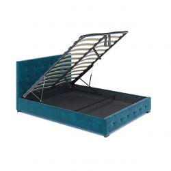 Turkusowe łóżko 160 z pojemnikiem na pościel